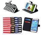For Samsung Galaxy S IV 4 S4 Stripe Wallet Flip Pouch Cover Case Accessory