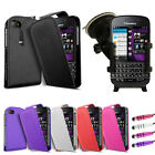Leather Flip Series Case Cover - In Car Phone Holder For Blackberry Q10