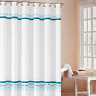 """Fabric Bathroom Shower Curtain Embroidered Check """"Klyne"""" 2 Colors Available"""