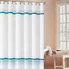 "Fabric Bathroom Shower Curtain Embroidered Check ""Klyne"" 2 Colors Available"