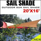 NEW MTN 20'x16' RECTANGLE SQUARE SUN SAIL SHADE CANOPY TOP COVER
