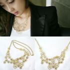 New Grace Lady Lace Effect Camellia Choker Plated Alloy Multi Flower Necklace