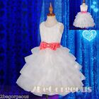 Embossed Flower Girl Dress Wedding Bridesmaid Occasion White Size 2-9 Years #253