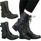 WOMENS LADIES ARMY MILITARY BIKER COMBAT LACE UP LOW HEEL ANKLE BOOTS SHOES SIZE