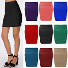 Womens Plain Micro Mini Skirt Ladies Short Ponte Party Skirt Plus Sizes 6-20