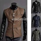 N4U8 Hot Men Slim PU Leather Splice Casual Suit Coat Jacket New 4 Colors/ Sizes