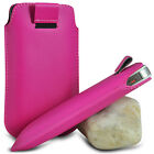 VARIOUS MOBILE PHONE HOT PINK PU LEATHER PULL TAB POUCH CASE COVER HOLSTER