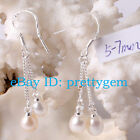 5 -- 7MM BEAUTIFUL WHITE FRESHWATER PEARL DANGLE EARRINGS STERLING SILVER HOOK
