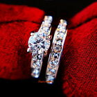 18k White Gold Plate Swarovski Crystal Engagement Wedding Eternity Ring Set R171