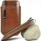 BROWN PULL TAB POUCH CASE W/ RETRACTABLE MINI STYLUS PEN FOR MOST PHONES