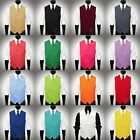 Solid Silky Satin Vest & Necktie Set for Suit or Tuxedo 26 Colors Available