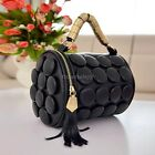 ItS7 Lady's Cylinder Women Tassel Button Bucket Shoulder Bag Cross Body Hand Bag