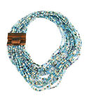 Multi Strand Turquoise Color Tribal Beaded Necklace with Wooden Clasp