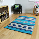 Havana Colourful Wide Long Runner Teal Navy Blue Grey stripped Soft Carved Rug