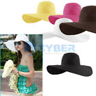Fold large brimmed hat Sun beach Derby straw Summer hat
