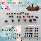 22 PAIR Plastic Eyes Straight Stem Mix Colors 4mm or 5mm Miniature Felting PPE-1