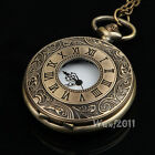 Steampunk Carve Pattern Cute Fob Pocket Watch Charm Round Locket Chain Necklace