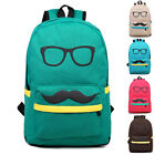 Stylish Boys Girls Canvas Mustache Travel Casual Shoulders Bag Backpack Rucksack