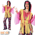 Peace Hippie + Headband 1960s Ladies Fancy Dress Womens 60s 70s Costume Outfit