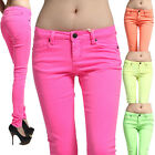 MOGAN 24 ~ 31 NEON Colored Stretch SKINNY JEANS Soft Denim JEGGINGS Pencil Pants