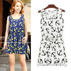 Women Sleeveless Anchor Print Elastic Wasit Summer Chiffon Casual Party Dress
