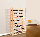 HomCom Solid Wood 120 Bottle 8 Tier Wooden Wine Rack Storage Free Standing Floor