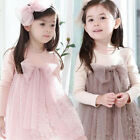 Kids Girls Bow-knot Tulle Dress One Piece Tutu Dress Skirts Long Sleeves 1-7Y