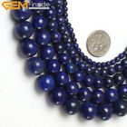 "Fashion round blue smooth lapis lazuli gemstone beads strand 15"",Jewelry Making"