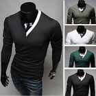 Mens Slim Fit Cotton V-Neck Long Sleeve Casual T-Shirt IN XS S M L Size 4 Colors