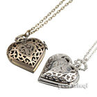 Steampunk Carved Hollow Out Flower Heart Locket Charm Necklace Pocket Watch Gift
