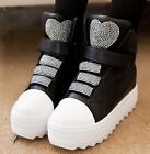 Womens Lovely Diamante Hearly Velcro Strap High Platform Trainers Shoes S808