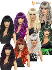 Ladies Vamp Witch Wig Halloween Fancy Dress Costume Accessory Long Curly Fringe