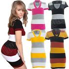New Womens Ladies Cap Sleeve Striped Long Jumper Dress Knitted Top Size 8 10 14
