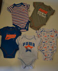 PUMA 5 PACK Infant Boys One piece BODY SUITS Sizes 3-6M and 6-9M NWT