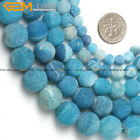 "Round Matte Blue Agate Beads Jewelry Making Gemstone Strand 15"" Various Size"