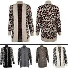 New Womens Ladies Leopard Animal Print Knitted Winter Cardigan Size 8 10 12 14