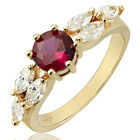 Women Jewelry Round Cut Red Ruby Yellow Gold Plated Fashion Ring Size 6 7 8
