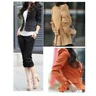 New M L XL XXL Women Coat Jacket Slim Fit Double-breasted Blazer Puff 3 Colors Z