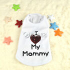 Cute White With Red Heart Dog Pet Mommy Clothes Apparel T Shirts Vest Top DZ88