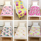 Childrens Girls Cartoon Character Soft Snuggle Fleece Blanket Throw OFFICIAL