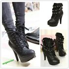 Punk New Women's Studded High Heels Platform Lace-up Ankle Boots Shoes Hot Sale