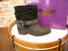 TWIGGY London Black Leather & Suede Ruched Ankle Boot NEW