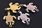 New 10pcs Glass Rhinestone Charms Lazy Tortoise Connector Bracelet Finding 35mm