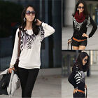Fashion Women Ladies T-shirt Zebra Print Batwing Sleeve Loose Tops Tees T Shirt