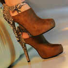 US Size 5/6/7/8 Womens Suede Snakeskin Back Heeled Ankle Boot Bootie Heels S0BZ