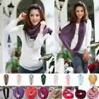 Women Colorful Winter Knitting Collar Corn Cowl Loop Snood Neck Warmer Scarf