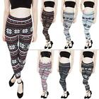 New Womens Ladies Wool Chunky Knitted Aztec Snowflake Leggings Size 8 10 12 14