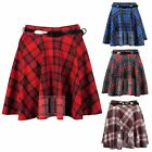 WOMENS TARTAN PLAID CHECKED STRIPE PRINT LADIES BELTED SHORT SKATER MINI SKIRT
