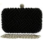 New Black Pearls Beaded Diamond Clutch Bag Box Gold Chain Hardcase Handbag Party