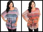 Pretty NEW FLUTTER-SLEEVE CHIFFON OVERLAY Multi-Color TOP Teal/Red~1X/2X/3X~NWT